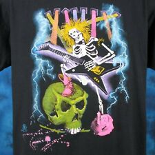 vintage 80s Hair Metal Skeleton Cartoon Paper Thin T-Shirt Large/Xl cowboy rock