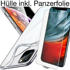 iPhone 11 / Pro / Max Handy Hülle Silikon Schutz Cover Transparent + Panzerfolie
