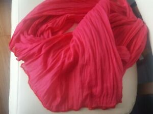 Cotton Gauze Scarf Wrap Hot Pink Rectangle edges accented red pink glass beads