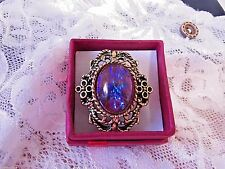 CHRISTMAS  gold Renaissance Ring Adjustable Mexican Fire Opal Dragons BREATH