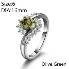 Women Sapphire Zircon Silver Plated Bride Wedding Ring Engagement Jewelry Gifts Olive Green 9