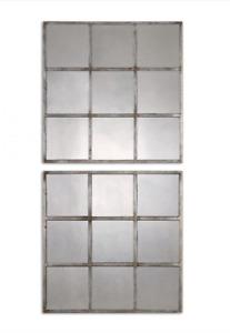 UTTERMOST 13935 UTTERMOST DEROWEN SQUARES ANTIQUE MIRRORS S/2, Grey/Silver