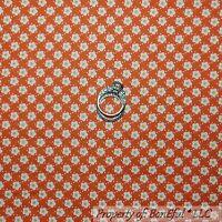 BonEful FABRIC FQ Cotton Quilt VTG Orange White Yellow FLOWER Dot Calico Stripe