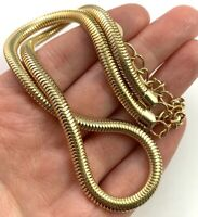 "VINTAGE SNAKE CHAIN NECKLACE THICK GOLD TONE METAL 17.5"" LONG COSTUME JEWELRY"