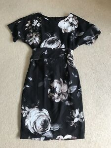 New Womens Phase Eight Party Dress,Black With Beige Floral Design,Size 8