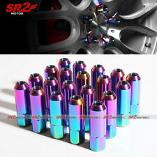 M12 X 1.50 mm Titanium Neo Chrome Open End Steel Acorn Wheel Lug Nuts 20pcs