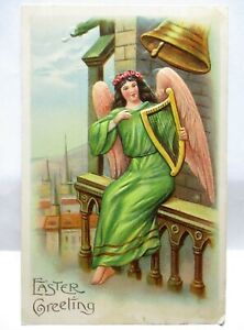 1909 POSTCARD EASTER GREETING, ANGEL ON BELL TOWER WITH HARP