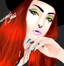 Digital Graphic Oil Painting, PNG Beautiful Colorful Makeup Artist Red Hair Nail
