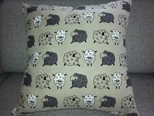 "Linen blend Handmade Cushion Cover ,Happy Sheep,16"" x 16"",invisible zipper"