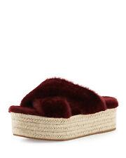 Miu Miu Shearling Crisscross Slide Sandal MSRP $590.00 Size 38/8.5
