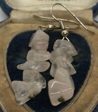 Vintage Earrings Rose Quartz Dangle Pink Stone