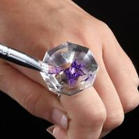 Cosmetic Tool Crystal Mini Finger Nail Art Mixing Palette Ring for Liquid Powder