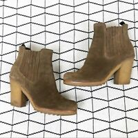 PRADA Suede Leather Pull-On Tan Ankle Booties Women's Size 38.5/8.5 Fall
