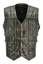 Mens Vintage Biker Vest Rust Vintage Pre-Distressed Real Leather Laced Vest 5513
