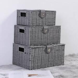 Set of 3 Storage Basket Resin Wicker Woven Hamper Box With Lid & Lock Stackable