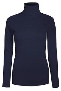 Ladies Roll Necks Tops Womens Polo Necks Plain Winter Ski Cotton Navy Size M