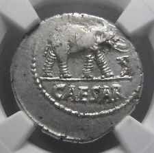 Julius Caesar AR Denarius (49-48 BC), Elephant, Certified NGC AU