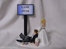 Wedding  Reception Party Laptop Computer Game Over Popcorn Soda Can Cake Topper
