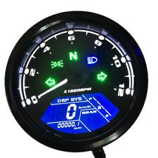 12000RPM 124MPH/199kmh LCD Digital Odometer Speedometer Tachometer Motorcycle