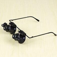 Eye Jeweler Watch Repair 20X Magnifier LED Lights Power Eyeglass Frame Tools LP