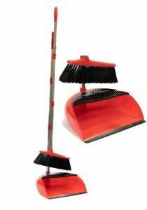 LONG HANDLED DUSTPAN AND BRUSH SET DUST PAN HANDLE BROOM RED