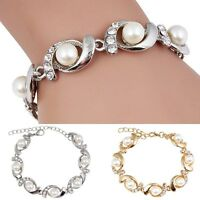Lady Fashion Jewelry Gold Silver Plated Pearl Crystal Bangle Charm Bracelet