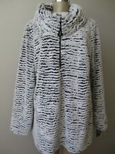 ADRIENNE LANDAU WHITE/BLACK MIX FAUX FUR COAT JACKET SIZE 3X - NWT