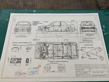 VW Golf Cabrio 2. Serie Ab 1987 Konstruktionszeichnung/ Blueprint.