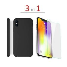 Original Design iPhone Xs Max, Xr Protective Leather Case Cover + 2pack glasses