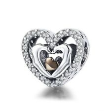 Romantic S925 Sterling Silver Closed Love Hand Heart Charm With CZ Stones