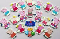 20 PCS Mixed Kawaii Resin Peppa Pig Cabochons Craft Charms Flatbacks Hair Bows