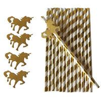 25x Unicorn Stripe Paper Straws Birthday Cocktail Party Disposable Tableware
