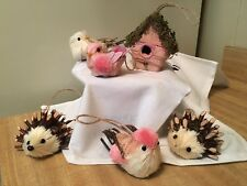 Lot Pink Christmas or Easter Bottle Brush Animals Birds & Bird House &