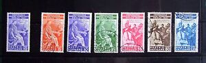 Vatican stamps (1935): 'Juridical Congress' set of 6 used + 1 mint, all hinged