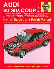 1491 Haynes Audi 80, 90 & Coupe Petrol (Oct 1986 - 1990) D to H Workshop Manual