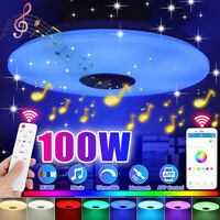 LED RGB Music Ceiling Light Dimmable Lamp bluetooth APP+Remote Control Works R