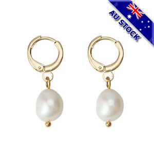 18K Gold Plated White Shell Pearl Dangly Earrings Woman's Gift