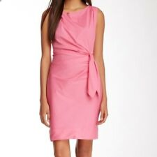 Diane Von Furstenberg DVF Della Pink Cotton mix Stretch Dress Side Tie Sz 4