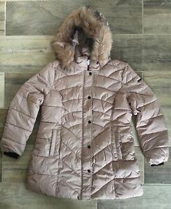 New Centigrade Faux Down Padded Chevron Coat Detachable Faux Fur Hood Blush XL