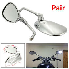 Pair 360° Adjustable Angle Oval 10mm Motorcycle Left+Right Side Rear View Mirror