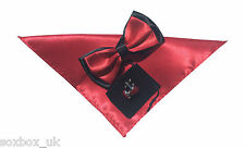 Mens Bow Tie Handkerchief and cuff links set Rose Red No34