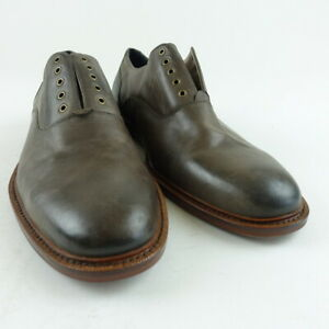 Banana Republic Men Size 9 Caleb Laceless Leather Oxford Elephant Gray $138