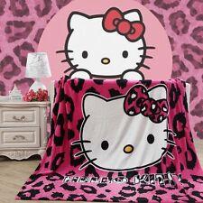 "79""x59"" Anime Hello Kitty leopard Plush Soft Flannel Blanket Bedding Xmas Gift"