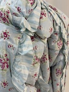 Simply Shabby Chic FABRIC King Comforter Floral Stripes WESTPOINT TAGS *READ New