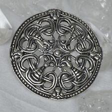 Wikinger Fibel 925 Silber Scheibenfibel Borrestil  Mittelalter Öse Kettengehänge