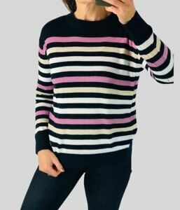 M&S Collection Marks Spencer Womens Cotton Navy Stripe Crew Neck Jumper Knit