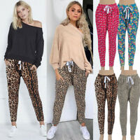 Womens Leopard Print Harem Pants Jogger Casual Loose Ladies Sports Trousers