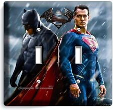 BATMAN V SUPERMAN SUPERHEROES DOUBLE LIGHT SWITCH WALL PLATE COVER BOYS ROOM ART