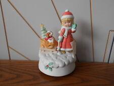 Niña/Cachorro Trineo Vintage Porcelana Biscuit Navidad caja de música Cumbre De Colección