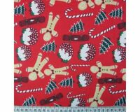 CHRISTMAS FABRIC GINGERBREAD PUDDING POLYCOTTON   - COLOUR RED